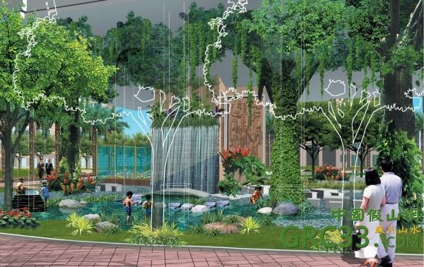 园林假山小区水景景观设计效果如集锦 假山效果图 cad 中